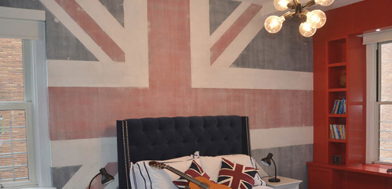 Mural of Union Jack flag in Children's Bedroom in New York City Upper West Side